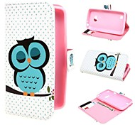 Sleeping Owl Design Leather Case Cover with Stand and Card Slot for LG L50 D213N