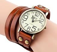 Women's Vintage Style Long Strap Leather Band Quartz Analog Bracelet Watch (Assorted Colors)