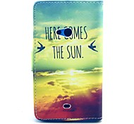 Here Comes Sun Pattern PU Leather Case Cover with Stand and Card Holder for Nokia Lumia 625 N625