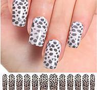 12PCS Black&White Leopard Watermark Nail Art Stickers C4-013
