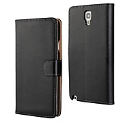 Solid Color Genuine Leather Full Body Cover with Stand and Card Slot for Samsung Galaxy Note 3 Lite N750 / Neo N750