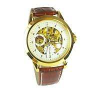 correa de cuero esfera de oro relojes mecánicos de los hombres