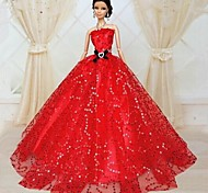Barbie Doll Red Sequins Evening Party Dress
