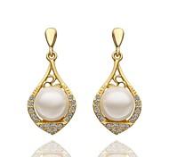 classiques perle goutte rose boucles d'oreilles plaqué or (or rose) (1 paire)