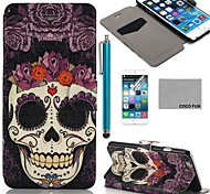 COCO FUN® Floral Skeleton Pattern PU Leather Full Body Case for iPhone 6 6G 4.7 with Screen Protecter, Stand and Stylus