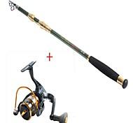 2.1 carbono vara de pesca médio pesca de mar verde + carretel de pesca preto 8bb yb2000 5.1: 1 fiação carretilhas de pesca