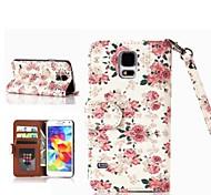 étui en cuir roses motif pu avec fente pour carte pour les i9600 Samsung Galaxy S