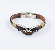 Fashion Men's Stainless Steel and PU Leather Bracelets