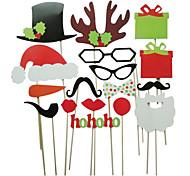 17 piezas de la tarjeta de papel de fotos props stand christamas favor de la diversión (gafas&sombrero&bigote&sombrero)