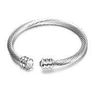 Fashion Pithy Silver Stainless Steel Cuff Bracelets (1 Pc)