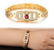 Fashion 18 K Gold Ruby Plating Mosaic AAA Zircon Ms Gold Bracelet