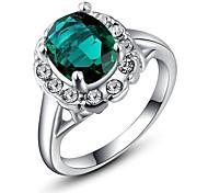 18K White Gold Plated Emerald Green/Blue/Purple/Blace Stone Ring Elegant Jewelry CZ Diamond Austrian Crystal Stellux