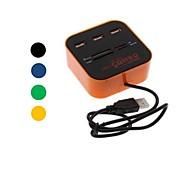 todo en un lector de tarjetas multiformato con 3 puertos USB 2.0 combo hub para SD / MMC / m2 / ms (color clasificado)