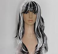 longa peruca ondulado encaracolado preto e branco