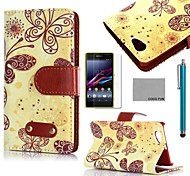 COCO FUN® Yellow Butterfly Pattern PU Leather Case with Film and Stylus for Sony Xperia Z1 mini Compact D5503
