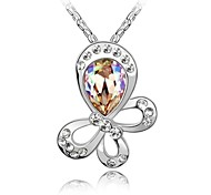 Whirling Butterfly Fashion Short Necklace Plated with 18K True Platinum Aquamarine CrystallizedAustrian Crystal Stones