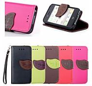Blatt Schnalle Muster PU-Leder Ganzkörper-Fall mit Kartensteckplatz und stehen für iPhone 4 / 4S (farbig sortiert)