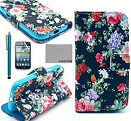 COCO FUN® Multicolor Flower Pattern PU Leather Case with Film and Stylus for Samsung Galaxy Core GT-I8260 I8262