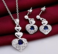 Fashion (Heart Design) Silver-Plated (Includes Necklace&Earring) Inlaid Zircon Jewelry Set (1 sets)