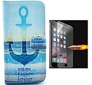 The Ship Anchor Oattern PU Leather Full Body Case with Explosion-Proof Glass Film for iPhone 6
