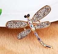 Korean Version Sweet Alloy Dragonfly Rhinestone Brooch