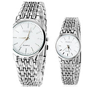 Couple's Simple Silver Alloy Band Quartz Wrist Watch
