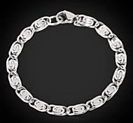U7® Titanium Steel Chunky Figaro Chain Bracelet Bangle Women High Quality NEVER FADE 6MM 21CM