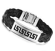 Personalized 21.5cm Men Black Leather Stainless Steel Bracelet