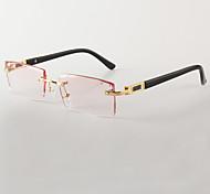 [Free Lenses] Men's Acetate Rectangle Rimless Crystal Prescription Eyeglasses