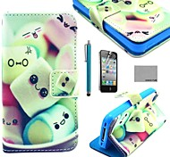 COCO FUN® Smile Sweet Pattern PU Leather Full Body Case with Screen Protector, Stand and Stylus for iPhone 4/4S