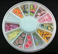 12 Kinds Fimo Slice Dessert Series Nail Art Decoration(Random Pattern)