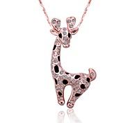 18k moda encantadora galvanoplastia bebé ms rosa collar de oro y diamantes