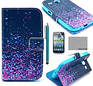 COCO FUN® Night Glowworm Pattern PU Leather Case with Screen Protector and Stylus for Samsung Galaxy Core GT-I8260 I8262