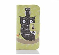 Yellow Owl Pattern U Leather Cover with Stand and Card Slot for Samsung Galaxy S4 Mini I9190
