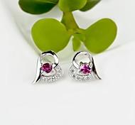 I FREE SILVER®Women's Fashion Heart Shape S925 Sterling Silver Mosaic Zircon Stud Earrings 2 pcs (1 pair)