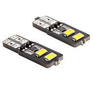 t10 2w 4-5.730 SMD 6000k luz blanca de coche universal codificado de-bombillas led de lectura de ancho (DC12V 2pcs)