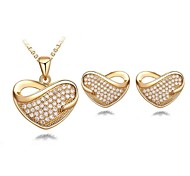 Fashion Contracted Sweet Heart Pendant Necklace And Earrings Jewelry Set