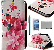 COCO FUN® Music Butterfly Silk Pattern PU Leather Case with Screen Protecter and Stylus for Samsung Galaxy S4 Mini i9190