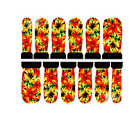 12PCS Flower Pattern Watermark Nail Art Stickers C3-012
