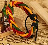 Lureme®Vintage Red  Yellow Green Genuine Leather Knitting Bracelet