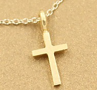 Contracted Fashion Gold Dipped Simple Cross Charm Pendant Necklace