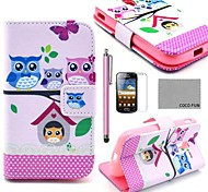 COCO FUN® Lovely Owl Family Pattern PU Leather Case with Screen Protector and Stylus for Samsung Galaxy Ace 2 i8160