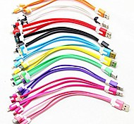 3-in-1 USB to 8Pin/30Pin/MicroUSB/Data Sync/Charger Noodle Cable for Samsung and Other Phones(Assorted Color)