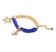 Fashion Five Stars Multicolor Leather Alloy Charm Bracelets(1 Pc)(More Color)