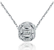 Fashion Silver Sterling Silver Pendant Transport Bead Pendant Necklaces