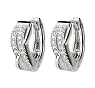 I FREE SILVER®Women's Fashion S925 Sterling Silver Double Row Mosaic Diamond Hoop Earrings 2 pcs(1 pair)