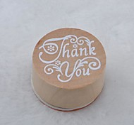 Vintage Floral Pattern Word Round Wooden Rubber Stamp(Thank you)