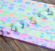 30 PCS Fluorescent Effect I LOVE YOU Pattern Lucky Star Origami Materials (Random Color)