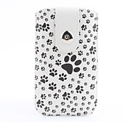 Dog Footprint Pattern Pouch Bag Case with Metal Buckle and Belt Clip for iPhone 6