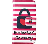 Heart Lock Stripe Pattern PU Leather Full Body Case for for Samsung Galaxy S5 Mini